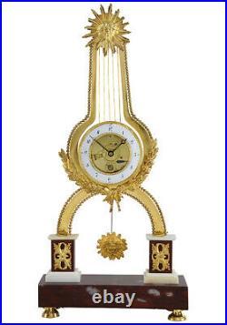 PENDULE LYRE. Kaminuhr Empire clock bronze horloge antique cartel uhren