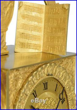 PENDULE MUSIQUE. Kaminuhr Empire clock bronze horloge antique uhren cartel