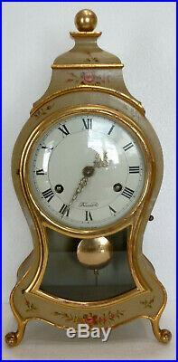 PENDULE NEUCHATELOISE en Bois peint Fonctionne Clock