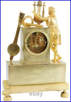 PENDULE ORPHEE. Kaminuhr Empire clock bronze horloge antique cartel uhren