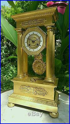 Pendule Portique En Bronze Dore Epoque XIX Eme