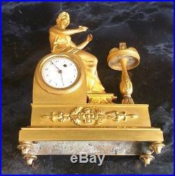 Petite Pendule Bronze Dore Mat Et Brillant Ep. Empire Vers 1820 H. 20cm Clock