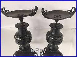 Paire de Cassolette Bronze et Marbre Ancien Napoléon III Venus Pendule