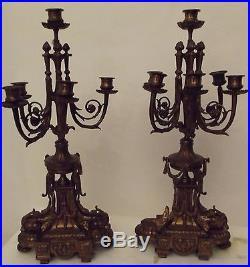 Paire de candélabres chandeliers bronze XIXeme