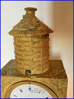 Partie d'une pendule d'époque Empire - Ruche d'abeilles - très rare
