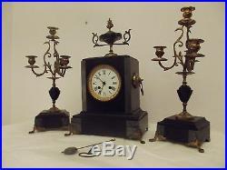 Parure cheminée napoleon marbre noir gris garnitures bronze chandeliers pendule