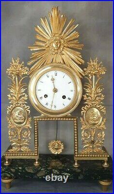 Pendule 18ème clock ormolu Empire squelette bronze doré