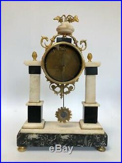 Pendule A Colonne Campion Louis XVI Marbre Blanc Riche Debut 19eme C2560