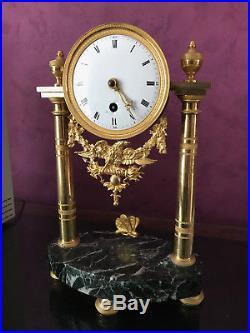 Pendule A Colonne Epoque Louis XVI Marbre Et Bronze