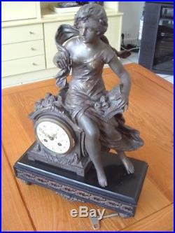 Pendule Ancienne En Bronze Marbre F. Moreau L'histoire Medaille D'or Quentin