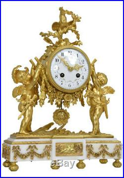 Pendule Angelots. Kaminuhr Empire clock bronze horloge antique cartel uhren