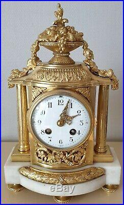 Pendule Borne Louis XVI Bronze Doré Et Marbre XIXeme