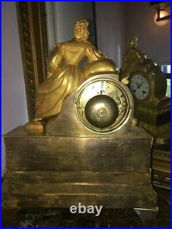 Pendule Bronze Au Mercure Epoque Restauration, Ht 36. Shipping Ups