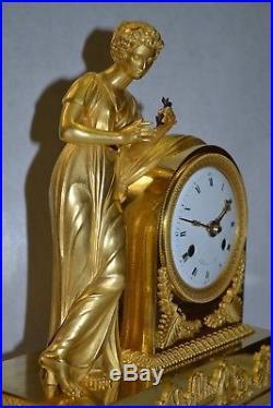 Pendule Bronze Dore Au Mercure D'epoque Empire, Lemoine A Paris, Ht 30
