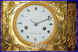 Pendule Bronze Empire De Lepaute A Paris, Josephine De Beauharnais, Ht 44