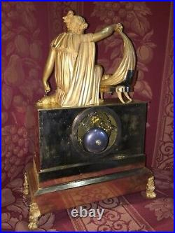 Pendule Bronze Empire L'inquietude Maternelle Gaston Jolly Paris 1810, Ht 38