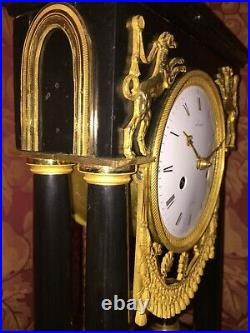 Pendule Bronze Epoque Directoire, Horloger Laurent A Paris, Ht 38