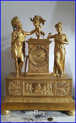 Pendule Bronze doré Empire à sujets clock uhr