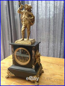 Pendule Bronze dorée et marbre Napoléon III
