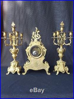 Pendule Cartel Napoléon IIII Bronze Doré + 2 Candélabres / Garniture De Cheminee