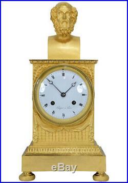 Pendule Chopin. Kaminuhr Empire clock bronze horloge antique cartel napoleon