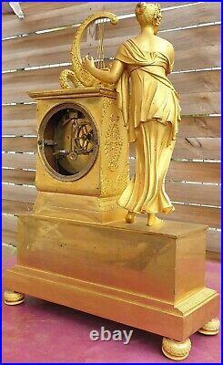 Pendule D époque empire en bronze doré / H 38 cm