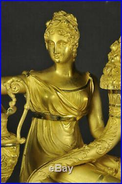 Pendule Dépoque Empire En Bronze Doré