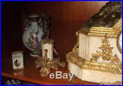 Pendule Empire 19 ème + garniture angelots cheminée