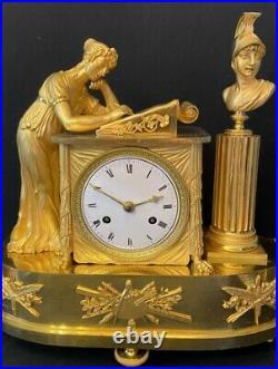 Pendule Empire''Allégorie de Peinture'' bronze doré (J. A. Reiche french clock)