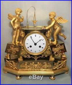 Pendule Empire''Amours au Billard'' Bronze doré (Cupido clock Ormolu)