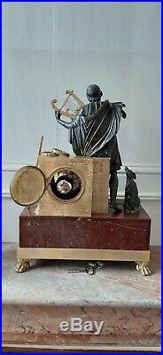 Pendule Empire Bronze Marbre Homere