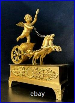 Pendule Empire Char de l'Amour en bronze doré (french clock)