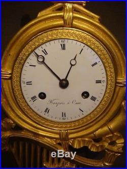Pendule Empire''Harpe'' en bronze doré (french gilt ormolu clock)
