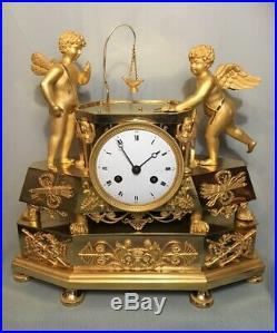 Pendule Empire''Partie de Billard'' en Bronze doré (French cupid ormolu Clock)