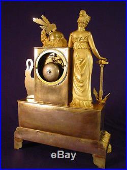 Pendule Empire Restauration bronze doré french clock uhr XIXéme (1810)