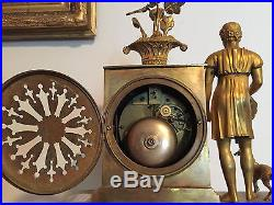 Pendule Empire en Bronze, Signée L. JAPY Fils, H 38 cm