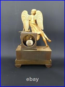Pendule En Bronze Doré, Cupidon époque Empire