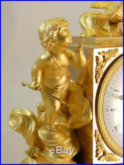 Pendule En Bronze Doré Époque Directoire Fin XVIIIe ormolu clock uhr reloj