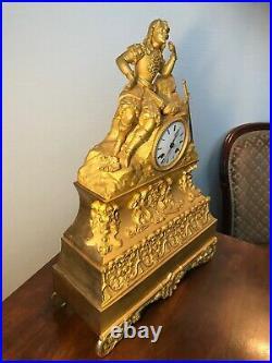 Pendule En Bronze Doré Mousquetaire Mouvement A Fil Japy Frères Époque 1830/1840