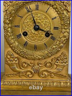 Pendule Epoque Empire Decor Femme A L Antique Allegorie De Jardin 19eme C2714