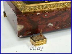 Pendule Epoque Restauration Bronze Marbre Rouge Double Patine Stiennon C2669
