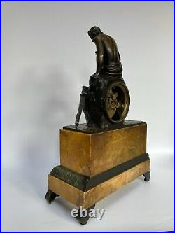 Pendule Epoque Restauration Marbre Sienne Sujet Bronze Narcisse Carquois C2704