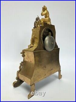 Pendule Epoque Restauration Neogothique Bronze Dore Decor Enfant Broussel C2568