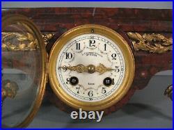 Pendule Formant Socle Style Louis XVI Bronze Et Marbre Charvet Horloger A Lyon