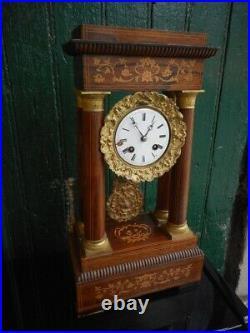 Pendule Horloge A Colonnes Portique Marqueterie N° 2