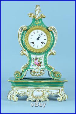 Pendule Horloge Ancien Cartel 19E porcelaine de Paris signé sv Jacob Petit Clock