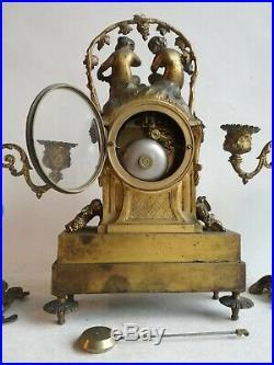 Pendule Horloge Candélabres Bougeoirs Louis XVI Bronze Doré Porcelaine Sevres 19
