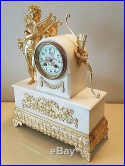 Pendule Horloge & Candelabres Garniture De Cheminee Bronze Dore Empire
