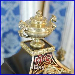 Pendule Horloge Napoleon 3 Signé RAINGO Frères, marqueterie boulle + son socle