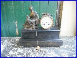 Pendule Horloge Napoleon III Avec Statue En Regule